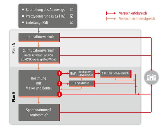 Abb. 1: Algorithmus für den schwierigen Atemweg (präklinisch) (mit freundlicher Genehmigung von Dr. H. Trimmel, Abteilung für Anästhesiologie, Landesklinikum Wiener Neustadt)
